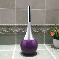 WC Bathroom Toilet Scrub Cleaning Brush Holder Set With Stainless Steel Sub Base
