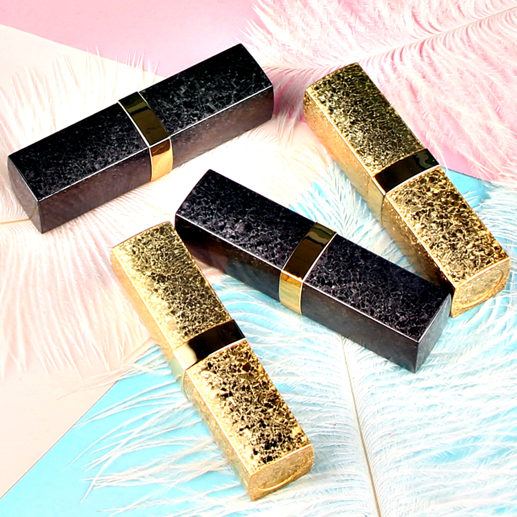10/20/50PCS Empty 12.1mm Square Gold/Black Lipstick Tube Cosmetic Refillable Container Lip balm Pipe Shell Lip Rouge bottle vial 10 20 50 100pcs gold square empty lipstick pipe shell diy lip balm tube cosmetic makeup packaging container for lip rouge mouth