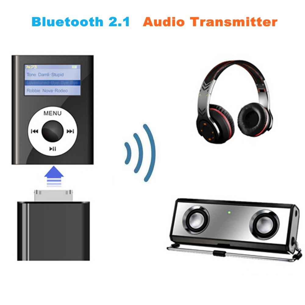 30 pinos sem fio bluetooth 2.1 transmissor de áudio estéreo música alta fidelidade adaptador transmitir para o iphone 4S 3gs 4 ipod clássico nano toque