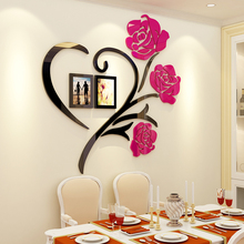 Heart flowers acrylic photo wall sticker creative personality 3D stickers bedroom bedside background wall surface decoration personality 3d broken wall space scenery heart shape wall art sticker