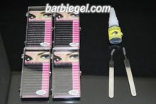 4cases 8/10/12/14mm C Curve 0.10 thickness MINK eyelash + 15ml  black glue of eyelashes+Curved and Straight tweezer  Eyelash kit