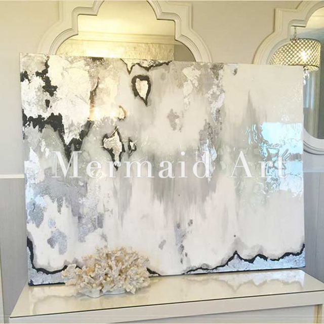 Very Handpainted Abstract Silver Leaf Art with Gray and White Ombre  MM57