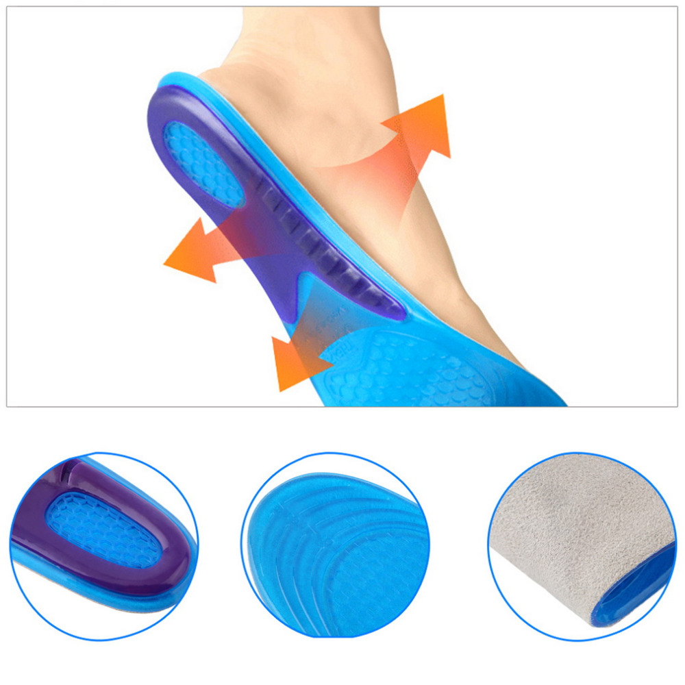 Men Women 1 Pair Small Size Orthotic Arch Support Massaging Silicone Anti-Slip Gel Soft Sport Shoe Insole Pad