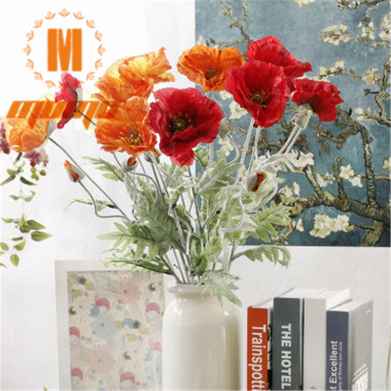 8 Pcs Artificial Real Touch Decorative Silk Fake Artificial Poppy