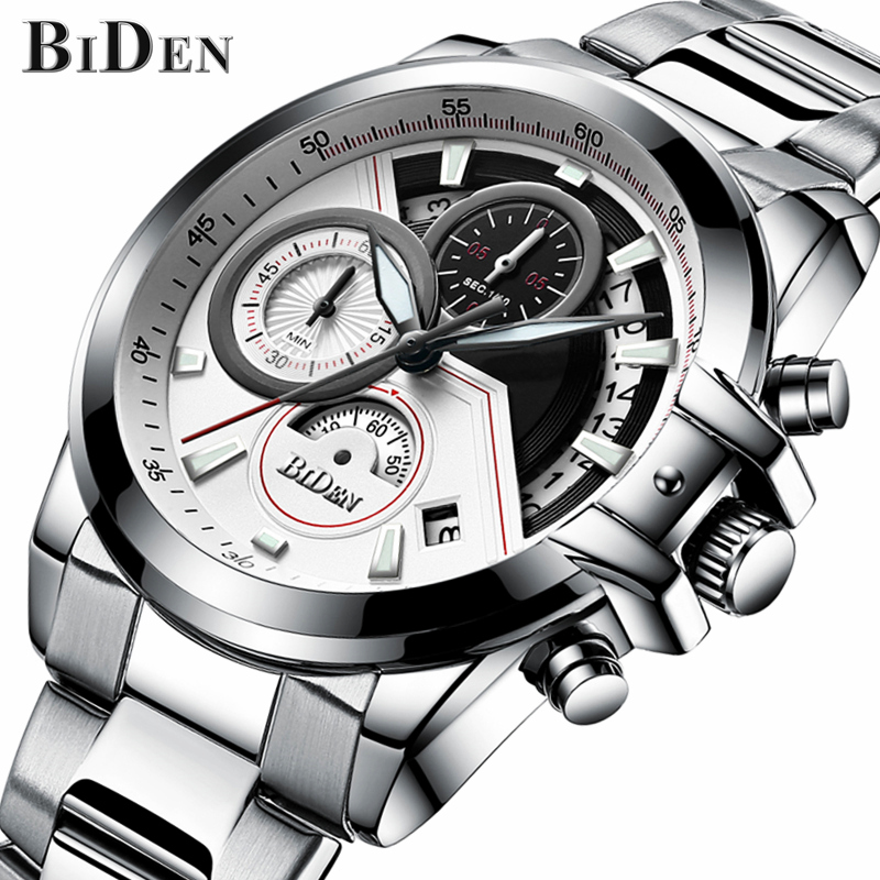 Mens Watches Top Brand Luxury BIDEN Watch Men Fashion Sport Quartz Clock Full Steel Business Waterproof Watch Relogio Masculino ноутбук hp 15 bw533ur amd a6 9220 15 6 1366x768 4 500hdd dvd rw amd radeon r4 win 10 home