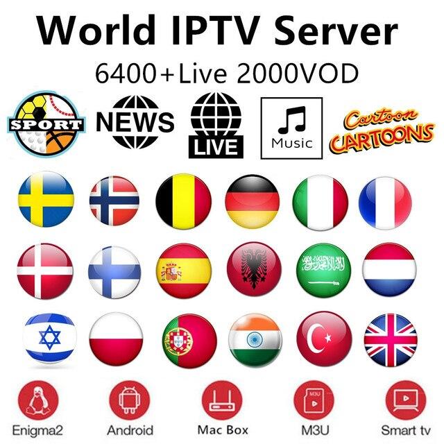 IPTV подписка Европа Rocksat Nordic Франция Великобритания Пособия по немецкому языку арабский голландский Швеции французский Польша Португалия Smart телевидение IPTV M3U 6400 Live