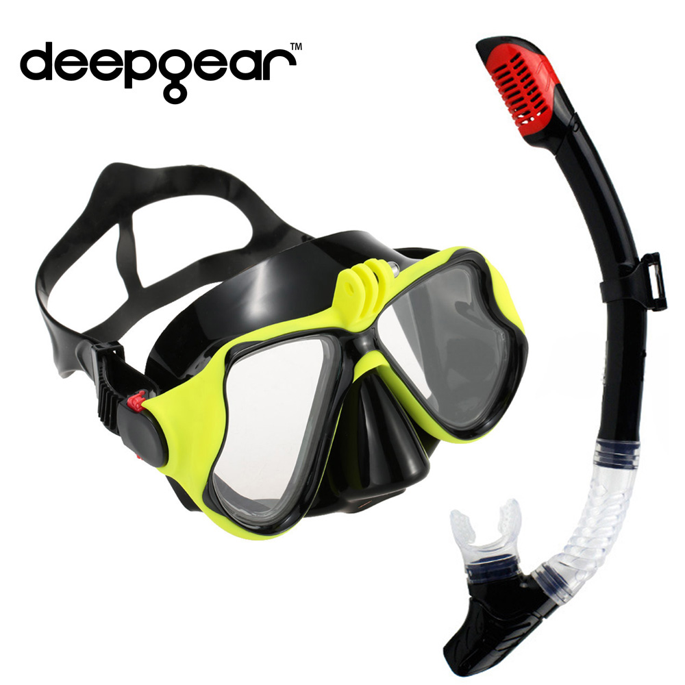 Professional scuba diving mask and snorkel set tempered lens Gopro camera diving mask dry top snorkel gears hot watersport gears wholesale 2013 new scuba series two lens diving mask free shipping