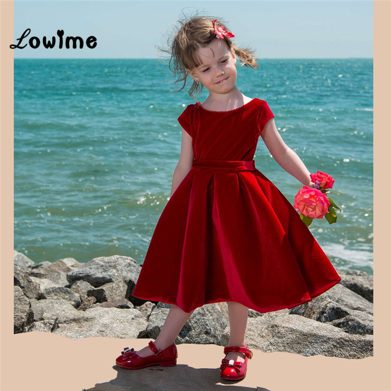 Velours rouge fleur fille robes 2018 jolie petite fille robe de fête de noël première Communion robes personnalisé enfants robes de soirée