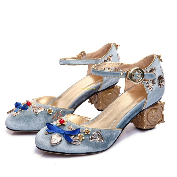 Retro Court High Heels Shoes Women Blue Velvet Flower Pearl Wedding Shoes Bride Gold Metal Decor Butterfly-knot Ankle Strap ShoeRetro Court High Heels Shoes Women Blue Velvet Flower Pearl Wedding Shoes Bride Gold Metal Decor Butterfly-knot Ankle Strap Shoe