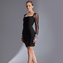 Fashion sexy club slash neck black long sleevelace bandage dress slim beading lace women dresses