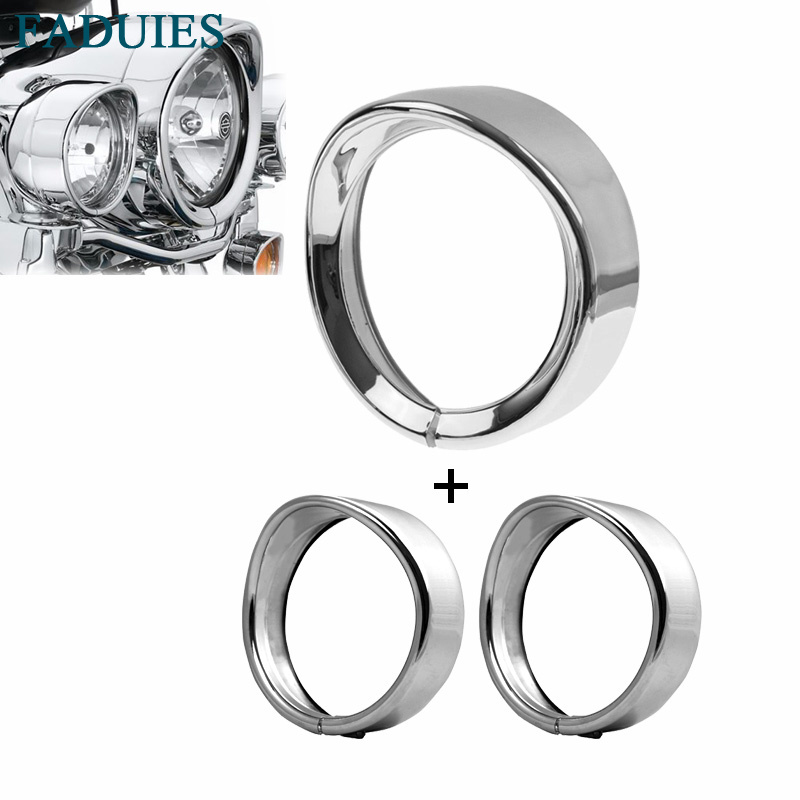 FADUIES Motorcycle accessories 7 Headlight Trim Ring+ 4.5 LED Auxiliary Light Trim Ring For Harley Tri Glide Ultra FLHTCUTG