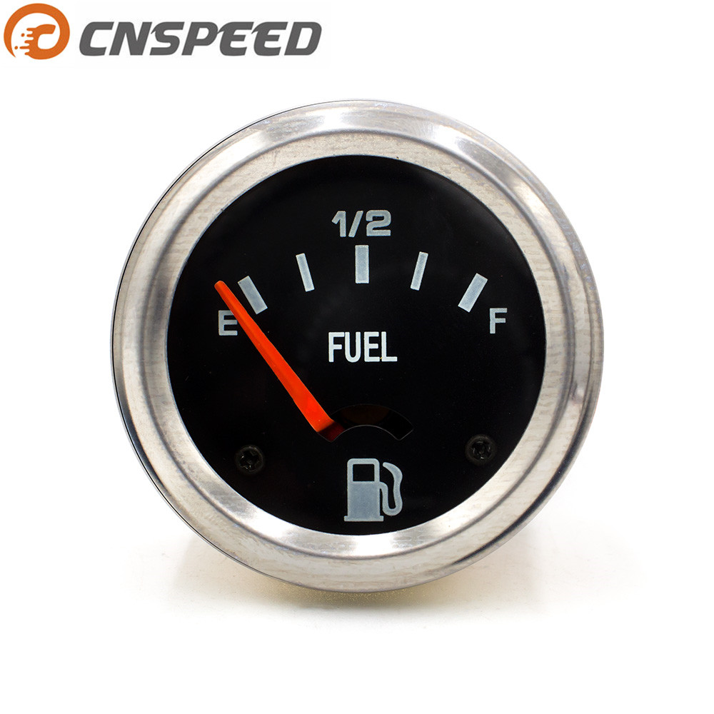 Free Shipping CNSPEED 2'' 52mm 12V Auto Fuel Level Gauge Car Meter  E-1/2-F Black Face Level Gauge Meter