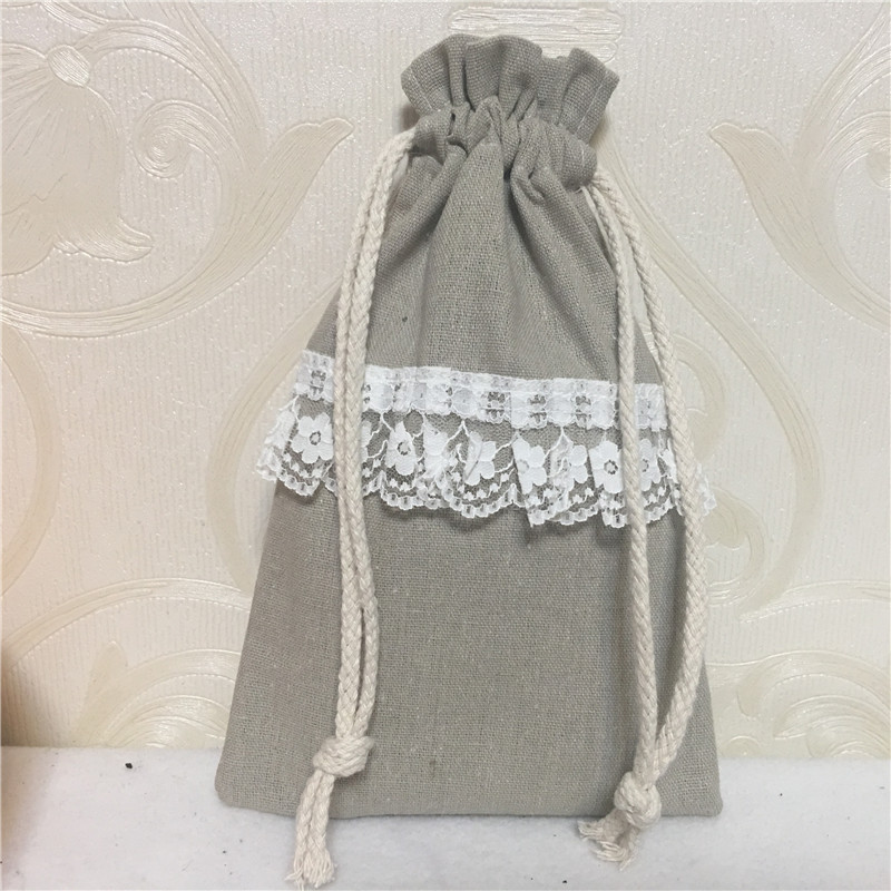 YILE Handmade Cotton Linen Drawstring Organizer Party Gift Bags Purple Dots Ribbon 8124c
