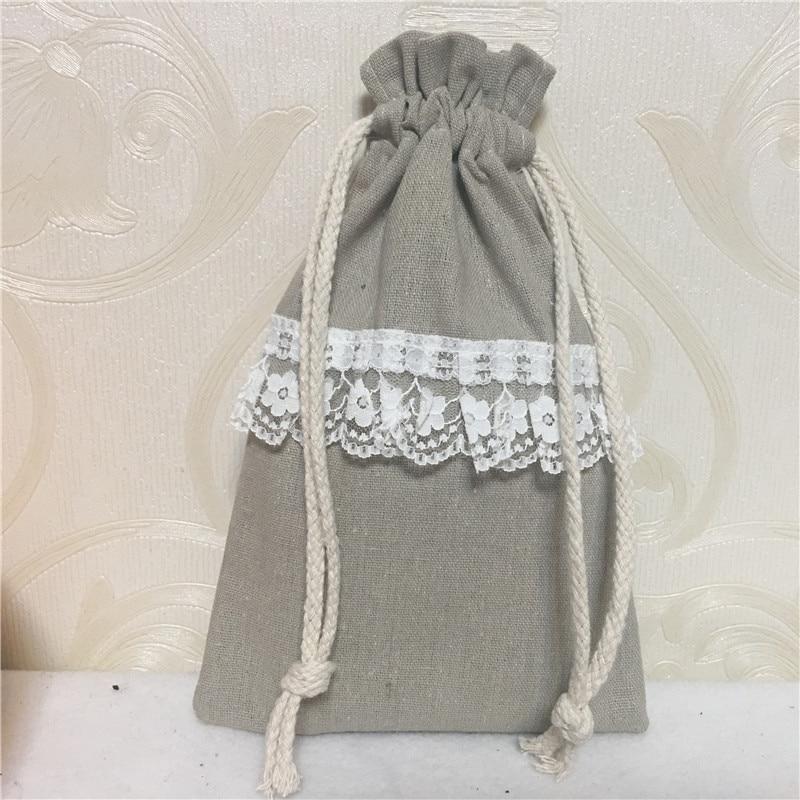 YILE Handmade Cotton Linen Drawstring Organizer Party Gift Bags Purple Dots Ribbon 8124c