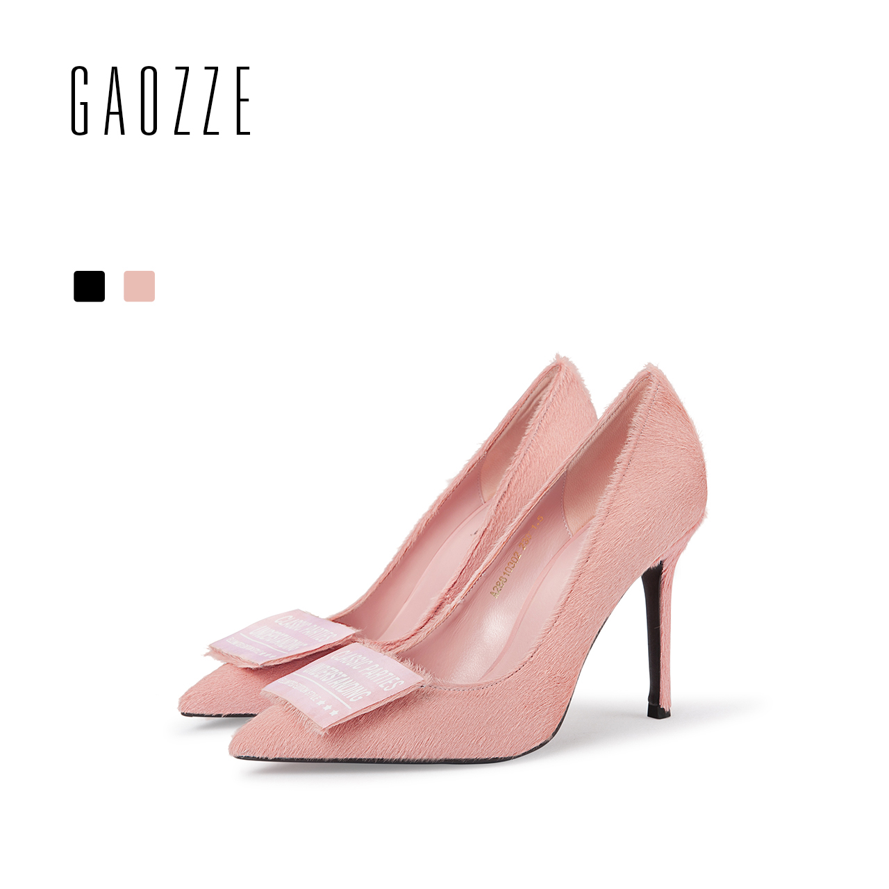 GAOZZE Pointed Toe Fashion Square Buckle Womens Office Shoes Sexy Stiletto High Heels Party Shoes Pumps 2018 Spring New denim zipper hollow worn stiletto womens sandals