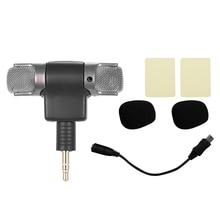 Externe Stereo Mic Mikrofon mit 3,5mm zu Mini USB Micro Adapter Kabel für GoPro Hero 3 3 + 4 für AEE Sport Action Kamera