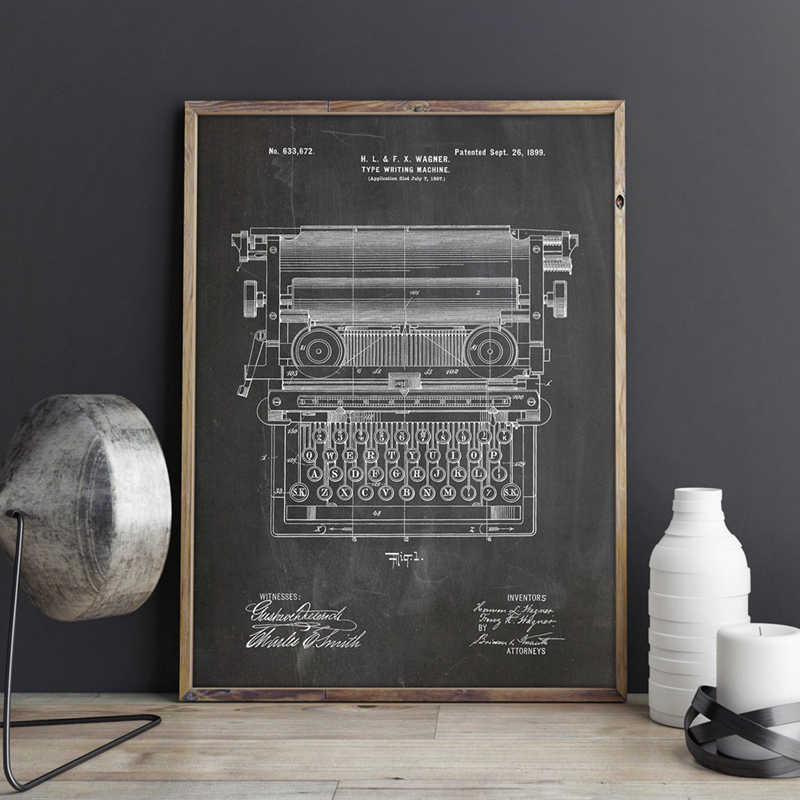 Office Typewriter Patent Working Typewriter Wall Art Canvas Prints Secretary Posters Office Decor Vintage Blueprint Painting