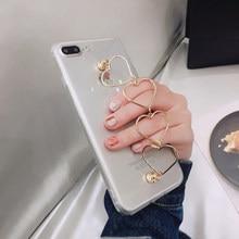 ee8e0ef73a3 Funda de silicona transparente de moda con agarre de cadena de mano para  iPhone X Xs XR XS MAX 7 8 Plus 7 8 8 8 carcasa cubierta.