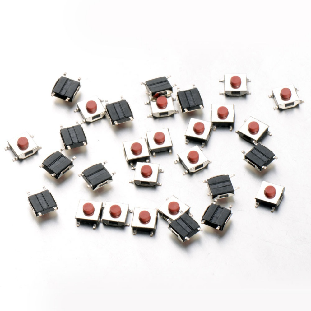 100 pcs/Lot SMD Tactile Pushbutton Key Switch Momentary Tact 4 Pins 6*6*2.5mm VE134 P0.4