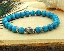 2016 Natural Stone bead Buddha Bracelets For Women and Men Genuine Turquoise Stone Silver Buddha Meditation Healing Bracelet stylish square fake turquoise bead bracelet for women