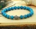 JINSE Natural Stone bead Buddha Bracelets Women and Men Genuine Turquoise Stone Silver Buddha Meditation Healing Bracelet BBB003