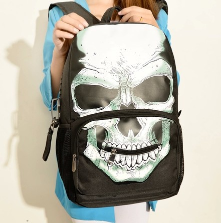 411ac3069f15 HOT SALE Europe and America skull personality backpack school bag travel bag