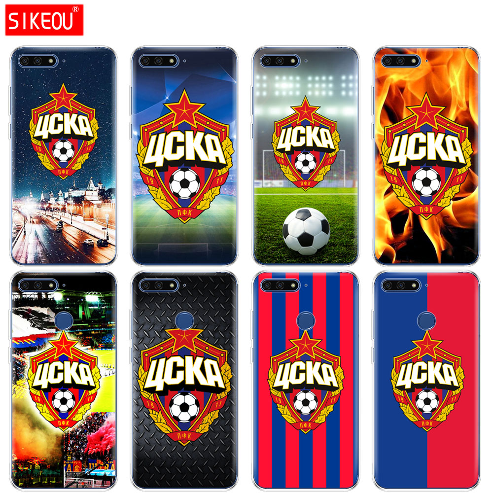 Silicone Cover Phone Case For Huawei Honor 7A PRO 7C Y5 Y6 Y7 Y9 2017 2018 Prime Football CSKA Moscow Team