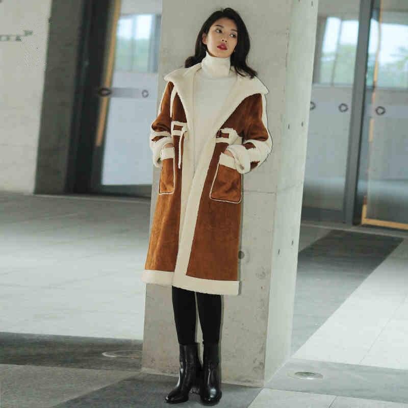 Manteau Unique Long Laine Faux Veste Nouveau En Femmes Suede Cuir D'agneau Parkas Hiver Femelle Poitrine Épaissir Brown Longues qA1pwft