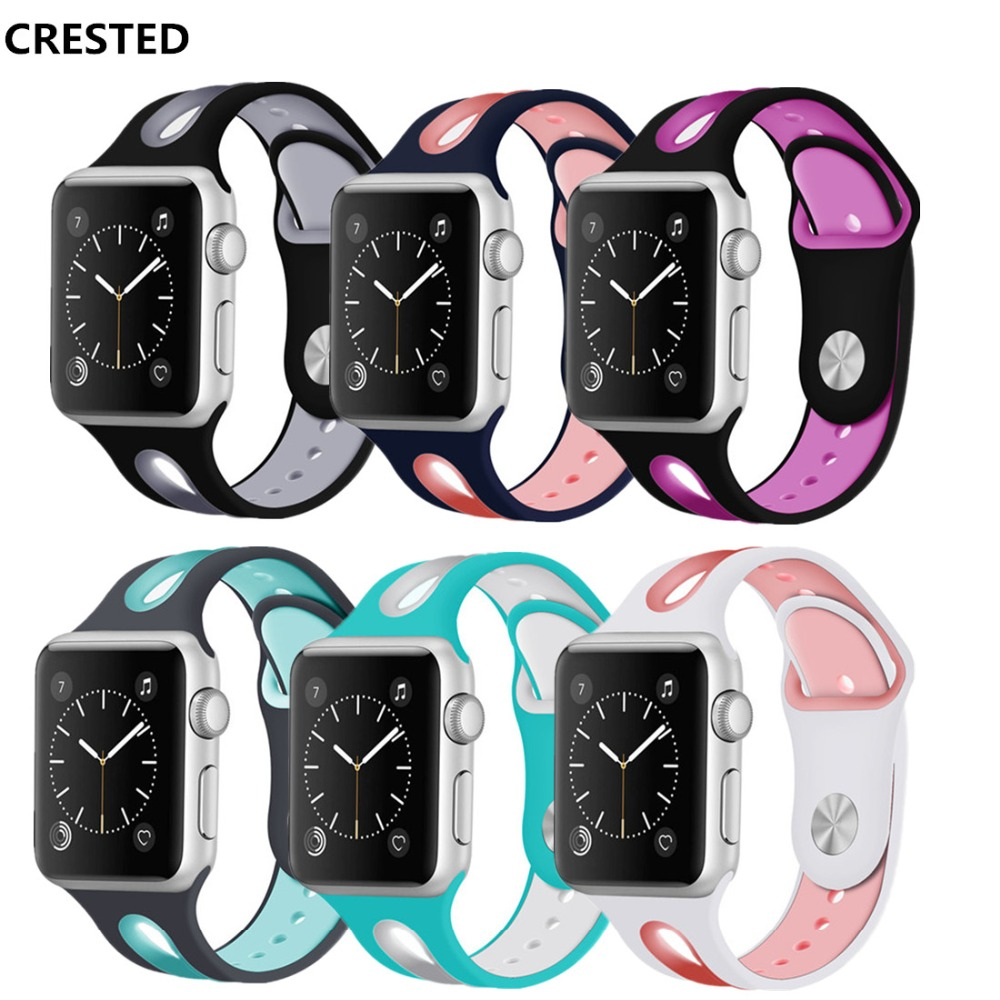 все цены на CRESTED Sport strap For Apple watch 4 band 44mm 40mm Silicone Iwatch series 4/3/2/1 42mm/38mm wrist bracelet watchband belt онлайн