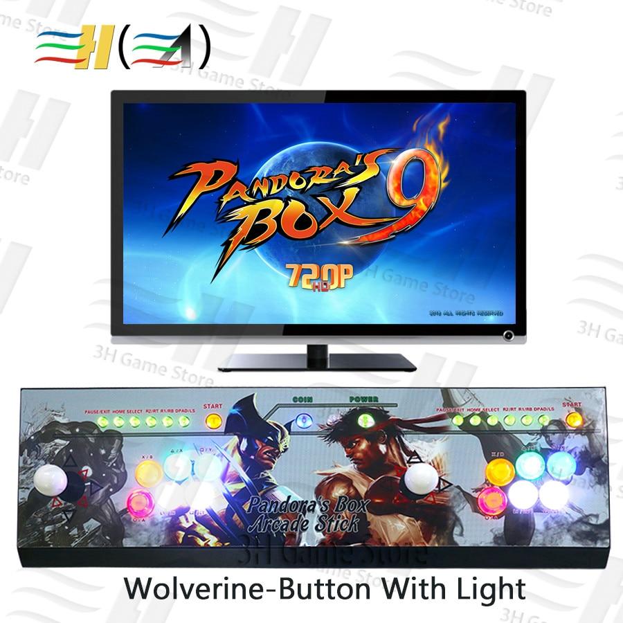 2018 Pandora Box 9 1500 in 1 Video Games Arcade Stick Console 2 Players joystick led button Pandora's box 5 plus Version console