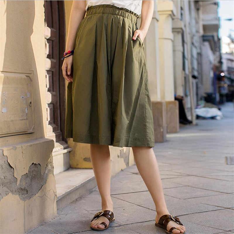 2019 женская новая льняная хлопковая плиссированная юбка эластичный пояс макси