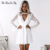 2018 Women Spring Summer Dress Flare Sleeve Long Sleeve V Neck Mini White Dot Lace Dresses