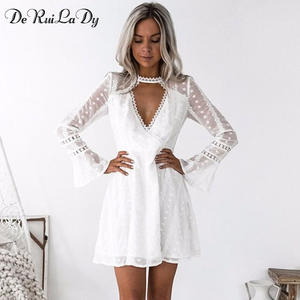3880544807b0 DeRuiLaDy 2018 Women Summer Long Sleeve Lace Dresses Female