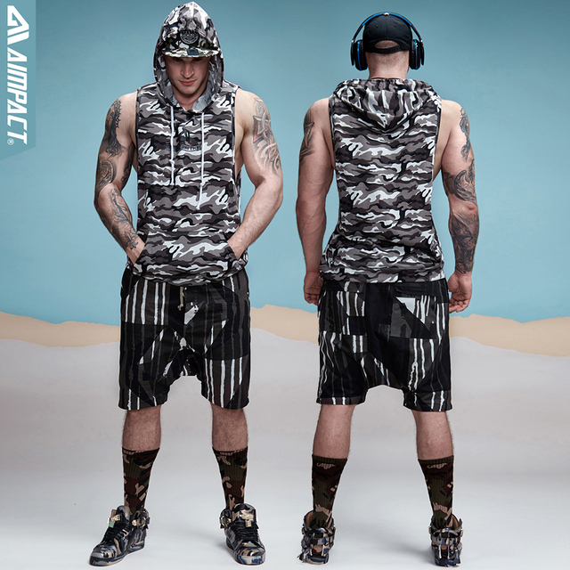 Aimpact Cotton Camouflage Tank Tops Hoodie