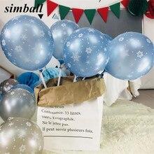Balões estampados de látex, balões para decoração de festas de aniversário infantis, balões de estampa de floco de neve para decoração de festa de casamento e natal com 10 peças