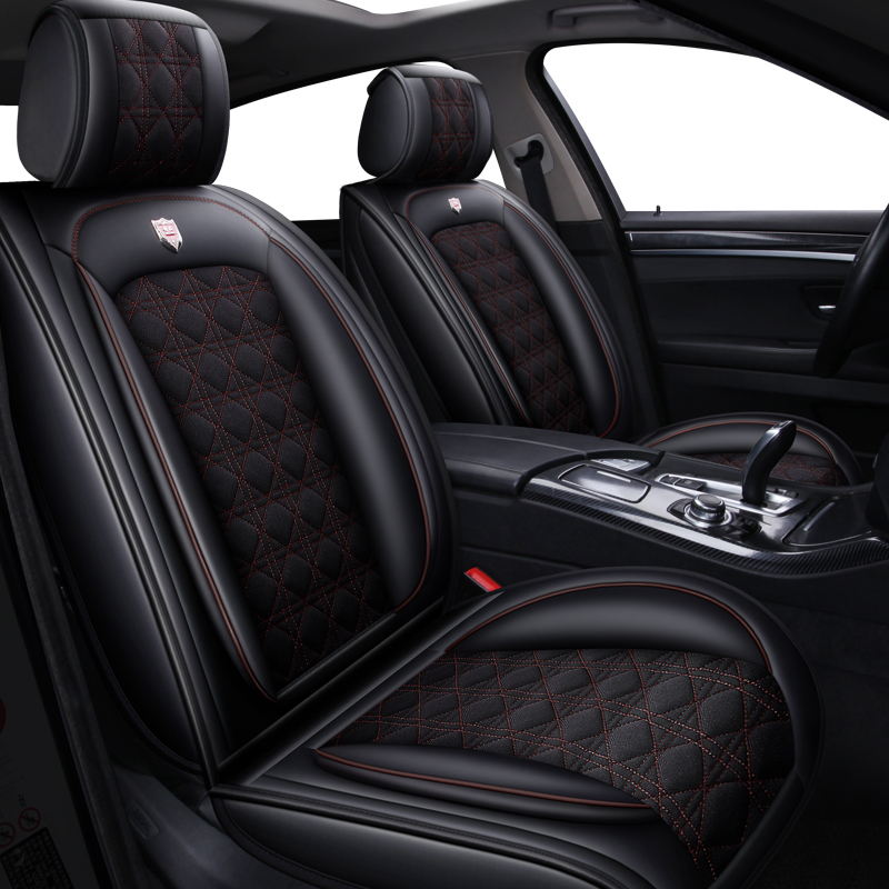 Cuir et Lin housse de siège de voiture Universelle pour Volkswagen vw passat polo golf tiguan jetta touran touareg bora Sagitar Magotan style
