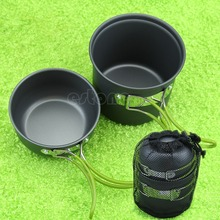 Outdoor Portable Camping Hiking Cooking Nonstick Bowl Pots Pans Cookware Set