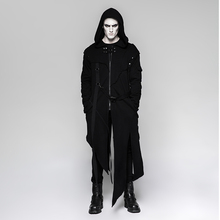 Punk Dark Men's Hooded Long Sweater Coats with Stripes Steampunk Visual Kei Sleeves Detachable Jackets