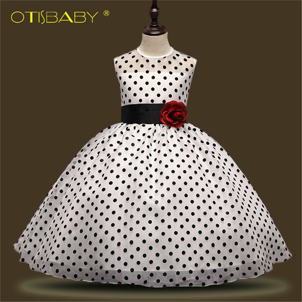 Summer Girls Polka Dot Dress Children White Evening Dresses Baby Girl Birthday Party Dress First Holy Communion Ball Gowns принтер epson surecolor sc p9000 std c11ce40301a0