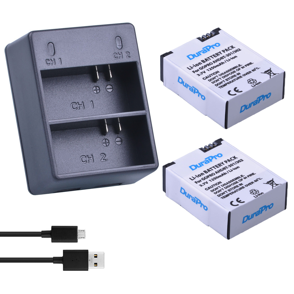 2X AHDBT-301 Battery USB Charger for GoPro Hero3 HD Black//White// Silver Edition