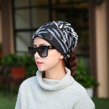 1 PC nueva moda de mujeres informal para otoño y primavera gorros bufanda estrella carta patrón mujer sombrero gorras 3 usos sombreros