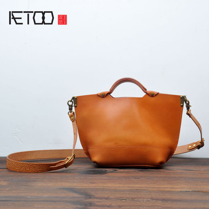 AETOO Japanese Korean version of the simple plant tannage handbags original leather Messenger bag Sen female college retro Tote qiaobao 2018 new korean version of the first layer of women s leather packet messenger bag female shoulder diagonal cross bag