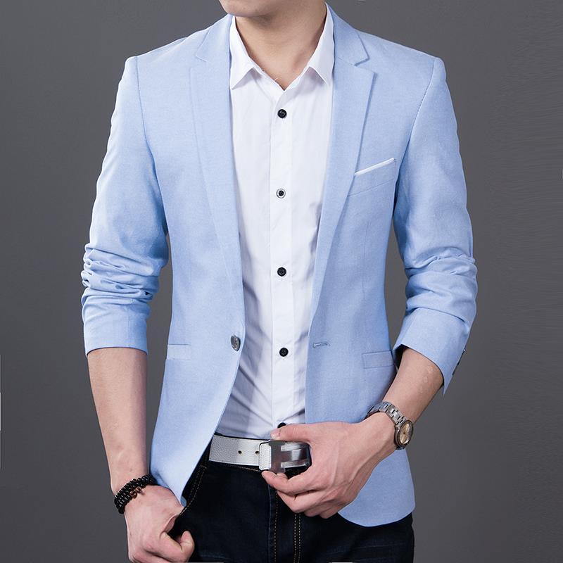 2018 New Fashion Long Sleeve Brand Blazer Men Blazer Casual Coat