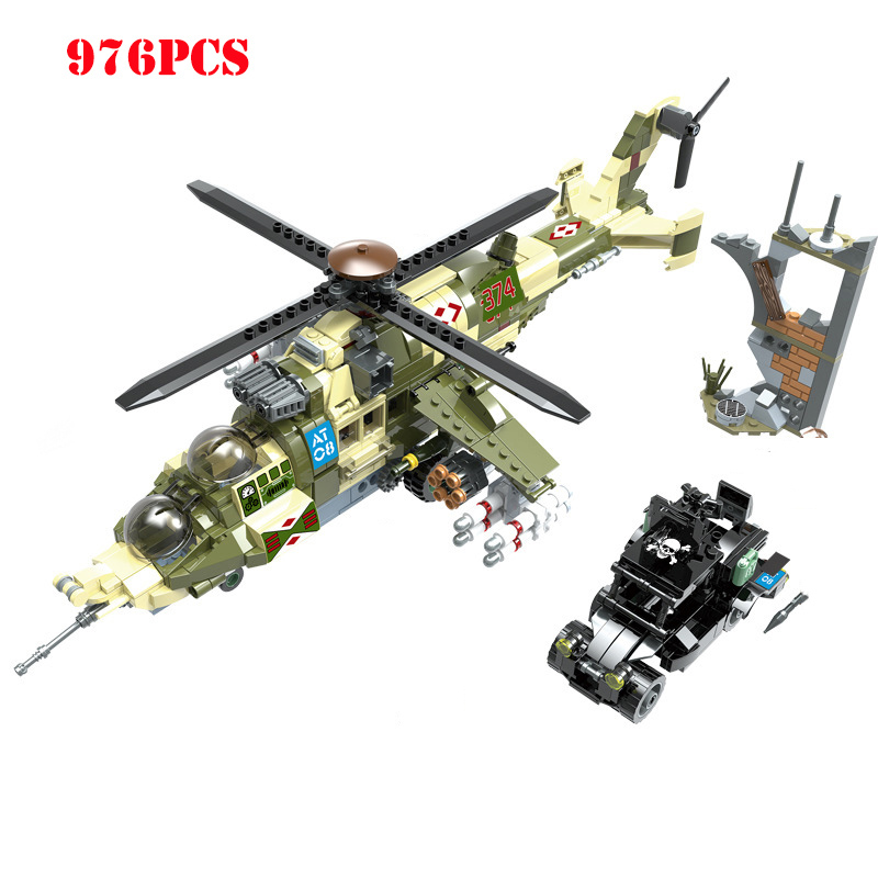 Aircraft Tank Army Soldier Figures Building Block Compatible WW2 Military Helicopter Weapons Technic Bricks Toys For
