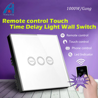 UK Standard 1000W Remote Control Timer Delay Touch Switch (3 9min), Crystal Glass electric switch with timer wall switch 240V