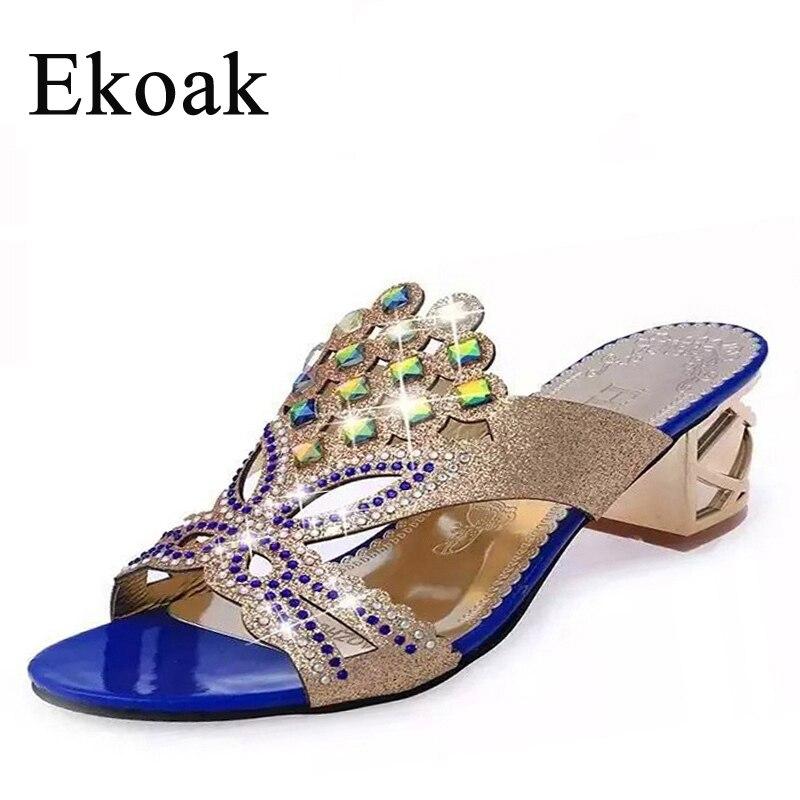 Ekoak New 2016 fashion rhinestone cut-out women sandals Square heel slip-on slippers summer shoes woman high heel sandals L10
