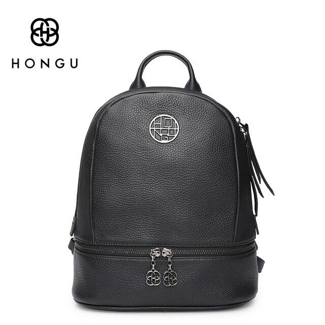 HONGU Famous Brand Ladies Solid Shoulder Bags Women Backpack Zipper Genuine Cow Leather Travel Bags College Girl Obag Top-Handle