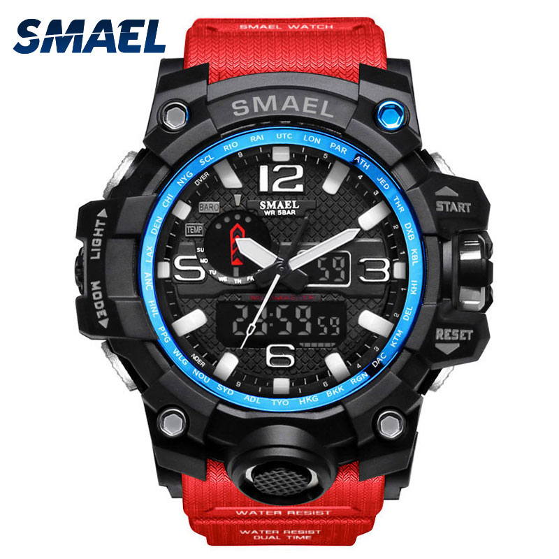 SMAEL Man Red Watches  Sports Mens Watch S-SHOCK Fantastic Attraction Luxury Style Relogio Masculino Wristwatch Uhren 1545