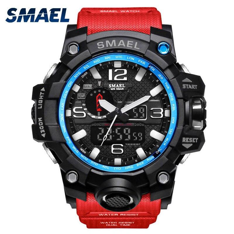 nouveau concept 78d11 ca022 € 9.2 48% de réduction SMAEL homme rouge montres sport hommes montre S  SHOCK Attraction fantastique luxe Style Relogio Masculino montre bracelet  Uhren ...