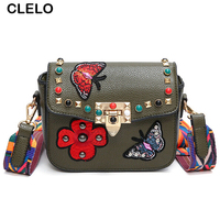 CLELO Vintage Fashion Bags For Women 2017 Small Messenger Embroidery Flower Rivet Stylish Bag Female Pu